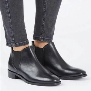Black topshop Kiki chelsea leather ankle boots